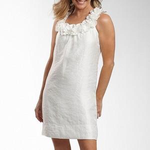 3.Rosette U-Neck Shimmer Shift Dress